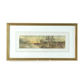Original Colored Pencil Drawing on Paper: An original colored pencil drawing on paper. This work depicts a landscape with bare autumn trees and a country road. It is presented behind a white mat behind glass in a gold tone wood frame.