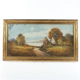 "Framed Gouache Painting on Cardboard of Rural Landscape: A gouache painting on cardboard of a rural landscape setting. The framed piece depicts a winding country road running past a small cottage surrounded by trees with changing leaves. The road extends onward to the sea, with white clouds disappearing into a grey-blue sky. The piece is signed ""Rich"" in paint to the lower right margin. The painting is presented under glass in a gold tone wooden frame with wire to the back for hanging."
