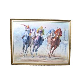 Original Anthony Veccio Equestrian Painting: An original Anthony Veccio equestrian painting. It illustrates five riders in the throes of a horse race. It is comprised of vibrant colors against a pale blue background. It is signed by the artist in the lower right corner. It is presented with a canvas fillet in a gold tone resin frame.