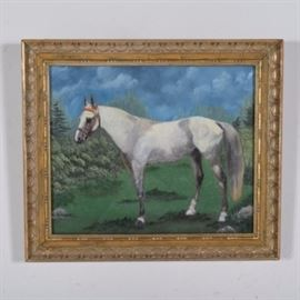 Equestrian Oil on Canvas Painting: An equestrian oil on canvas painting by an unknown artist. The painting features a white horse standing in a grassy area with an orange and brass bridle. The painting is framed in a gold painted wood with hanging wire to the verso and is unsigned.