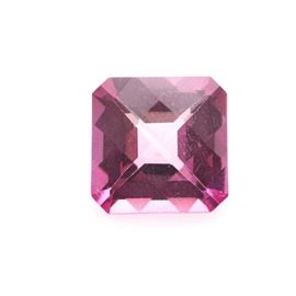 Checkerboard Cut Pink Topaz Stone: A checkerboard faceted pink topaz stone.