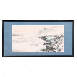 Chinese Watercolor of Climbers Above the Clouds: An original watercolor by an unidentified Chinese artist. This rectangular landscape on paper features two small figures, one seated, with large packs, resting on an outcropping above a mountain path. They are looking down upon the surrounding cloud cover to the left. The faint silhouette of mountain tops in the distant suggests this is only a brief rest on their climb. There are two black Chinese characters and a red stamp to the lower right corner. This work is presented with a blue linen mat, behind glass in a black painted wooden frame, wired for hanging.