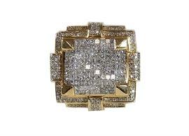 14K Yellow Gold Mens Large Diamond Ring: A 14K yellow gold men's large diamond ring.