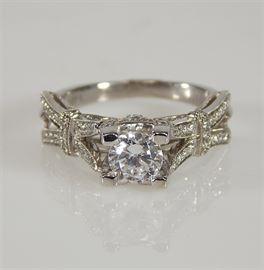 14K White Gold Porrati Diamond and CZ Ring: A 14K white gold diamond and cubic zircon ring.