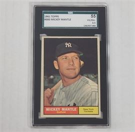 SGC Graded Mickey Mantle Card #300: A 1961 TOPPS #300 Mickey Mantle New York Yankees card. The card has been graded by SportCard Guaranty, LLC (SCG); graded 55, VG/EX+, 4.5.