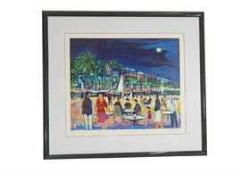 Jean-Claude Picot Signed Seriolithograph: A limited edition seriolithograph print on archival paper by internationally renowned and well-listed artist Jean Claude Picot (France, b. 1933). The print depicts a view of a coastal landscape, with a bustling gathering with bistro tables and mingling people to one side of the waterway, and a high-energy nightlife scene with palm trees and well lit colorful buildings to the other side of the waterway. The fun atmosphere takes place under a moonlit sky. This print is number 70 in an edition of 350. The print is signed in pencil to the lower right and numbered in pencil to the lower left. Presented behind glass with white matting and black frame.