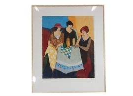 Signed and Numbered Serigraph by Itzchak Tarkay: A signed and numbered color serigraph by listed artist Itzchak Tarkay (Hungary, Israel, 1935 – June 3, 2012). The work depicts a trio of women sitting at a cloth covered table. The print is signed in pencil by the artist to lower right corner, and limited edition 7 of 300 to the lower left. Presented behind glass, with white matting, and gold aluminum framing.