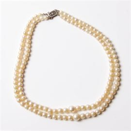 Double Strand Pearl Necklace with Sterling Clasp: A double strand pearl necklace.