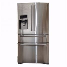 Samsung French Door Refrigerator: A Samsung french door refrigerator. This refrigerator is a 28 cubic foot appliance. It is finished in a stainless steel gray. There are french doors at the top with a water and ice dispenser, as well as two lower drawers. It features humidity controlled crispers, tempered glass spill proof shelves, gallons bins, EZ-open handle, and a two-minute door alarm. It is model RF4287HARS. The model code is RF4287HARS-XAA. Finally, the serial number is I02043BCB06353P.