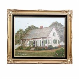 """Signed Original Painting on Canvas: A signed original painting on canvas. This framed oil painting depicts a country cottage. It is framed in a gold toned, intricately carved frame. The piece is not matted, but the frame has a thin, black band on the inner edge. This painting is signed """"M. Burgbacher"""". The back is marked as being painted by Marjorie Burgbacher. There is a handwritten note on the back that reads, """"Louisiana Home""""."""