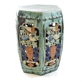 Antique Chinese Celadon Garden Stool: An antique Chinese celadon garden stool. This hexagonal ceramic garden stool features carved perforated panels with colorful urn and flower motif.