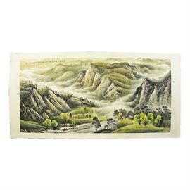 Vintage Hand Painted Chinese Mountainscape Silk Scroll: A vintage hand painted Chinese mountainscape silk scroll. This original vintage unframed hand painted Chinese silk scroll depicts a mountainous landscape with a small cabin, trees and water feature in the foreground in muted earth tones with Chinese characters above the image on the left side and Chinese character in the lower right corner.