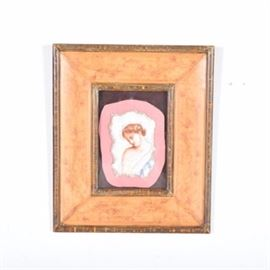 Decorative Pompeii Style Wall Art Piece: A framed piece of tile in the style of a Pompeii woman. This is probably a tourist piece which has been put in a larger shadow box style frame. The frame has a distressed appearance; the center portion has painted and etched flowers.