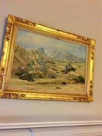 Beautiful landscape painting of mountains, great gold frame