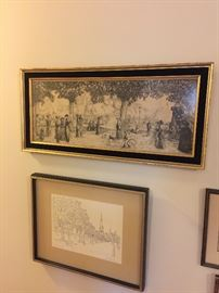 framed antique drawings