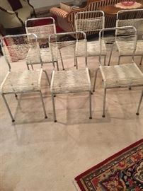 6 mid Century rope chairs