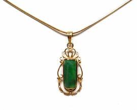 14k Gold Jade Pendant 18k Gold Necklace