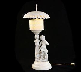 Vintage Porcelain Putti Cherub Lamp