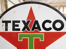 Lot #1 Vintage Texaco 6ft round double sided enameled petroleum advertising sign Patent date March 2, 1957. Minor wear and dents, some rust spots otherwise good condition
