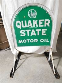 "Lot #2 Quaker State Motor Oil double sided hanging sign, tombstone shape with metal frame (26""x28"")"