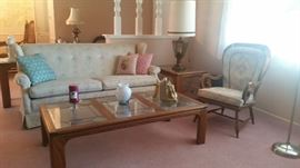Wing back sofa $60 / Lead glass coffee table $75, end talbe to match $40, sofa table too $75