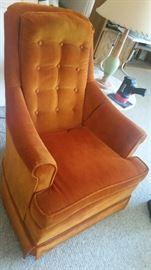 High back Mid century orange velvet chair $125