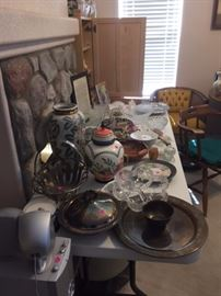 Wooden chairs, glassware, silver and silver-plate serving pieces and dishes, glassware (some antique)