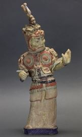 Chinese pottery figure of a warrior, Tang dynasty, overall with base: 16in(H)