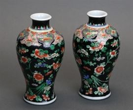 pair of Chinese famille noir porcelain meiping vases, Qing dynasty, each: 8.5in(H) x 4.5in(L)