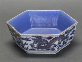 Chinese hexagonal porcelain bowl, Qing dynasty, 7.5in(L) x 2.5in(H)