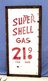 "Vintage Petroliana Original Large Roadside Super Shell Painted Double Sided Masonite Board Gas Price Sign, 36""W x 6 Feet H"