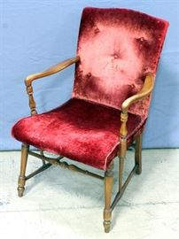 "Vintage Velvet Arm Chair with Wood Frame, 22"" x 35"""