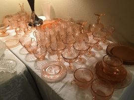 lots of pink glass-some depression glass