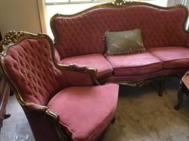 Settee and 4 chairs, needs some TLC