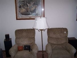 BRASS FLOOR LAMP, PAIR OF LAZY-BOYS, PRINT OF FOXES