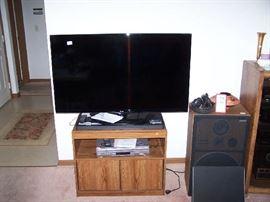 FLAT-SCREEN TV, TV CABINET, SPEAKER, MISC.
