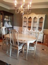 China cabinet 298.00 Table w/four chairs and pads 298.00 Matching vintage serving cart $198.00