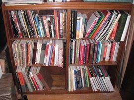 Antique oak bookcase & books