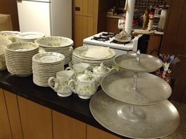 Full set of dishes and pressed aluminum tray