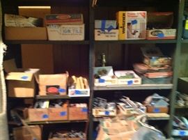 """Multiple boxes of """"stuff"""" from a tool room.  Individual was a woodworker and leather worker."""