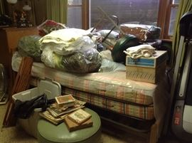 Mid century modern twin beds, rails, springs and mattresses, dresser and night stand.  $150 for all