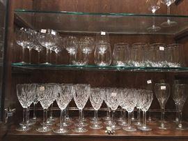 Large set of vintage Waterford Lismore water & wine goblets.
