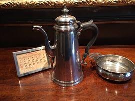 Sterling silver perpetual calendar, antique sterling silver pot and porringer.