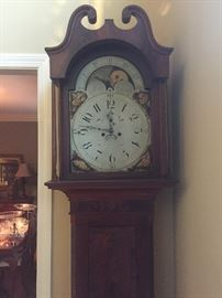 "Antique ""kit"" grandfather clock. Still working and has original key! 1908 service date stamped on the inside."