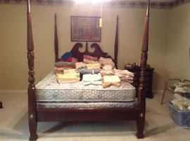 4 Poster Rice Bed Queen size price inclueds the mattress and box springs... Perfect condition!!!                    We have the original paperwork when it was bought and the prices....