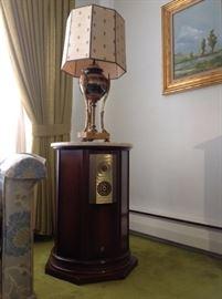 Pair 20th Century Louie XVl Marble Gilt Urn Lamps