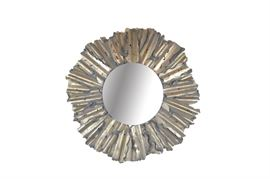 Large Wall Mirror With Hand-Cut Metal Frame: A large wall mirror with a hand-cut metal frame. The circular mirror features bezel edging. It is set in a wide ribbed hand-cut metal frame with pierced designs. The frame is finished in hand-applied paints of matte gray and antiqued gold tone. It hangs by a bracket to the verso.