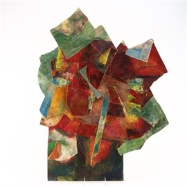 "Stephanie Baldyga-Stagg Acrylic on Wood Panel ""Petal"": An original mixed media painting on wood panel titled Petal by Stephanie Baldyga-Stagg. This piece depicts a Cubist-inspired series of shapes in a palette of red, green, orange, and blue on a non-traditional canvas shape. Verso features artist name, piece title, and dated ""05."""