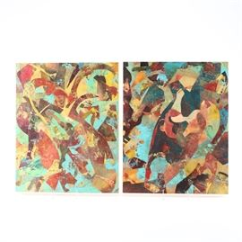 "Stephanie Baldyga-Stagg Acrylic on Wood Panel ""Mardi Gras I"" and ""Mardi Gras II"": A set of original acrylic painting on wood panel titled Mardi Gras I and Mardi Gras II by Stephanie Baldyga-Stagg. These two collage pieces depict a series of shapes and non-traditional pattern in a palette of blue, red, yellow, and brown. Verso includes artist name and piece title."