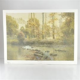"""Paul Sawyier Limited Edition Offset Lithograph """"Fish Trap"""": A limited edition offset lithograph print of Fish Trap after Kentucky artist Paul Sawyier (1865-1917). This piece features a section of the Dix river often used as a fishing spot, and the scene is viewed from the center of the river. It is numbered 568 out of 1450, copyrighted in 1979 by the Paul Sawyier Galleries, Inc. of Frankfort, KY. The print includes a certificate of authenticity."""